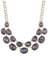 Jones New York Gold-Tone Purple Stone Linked Frontal Necklace