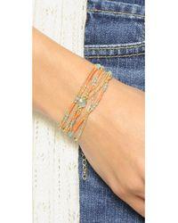 Sogoli Pink Stone Beaded Wrap Bracelet - Coral/blue