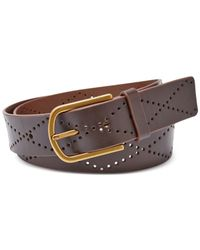 Fossil | Brown Diamond Perforated Belt | Lyst