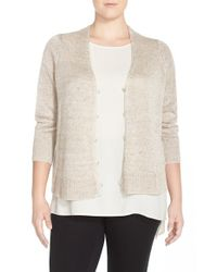 Eileen Fisher - Natural Organic Linen V-neck High/low Cardigan - Lyst