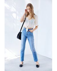 Kimchi Blue - Natural Tie-front Chiffon Blouse - Lyst