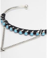 ASOS | Blue Turq Stone & Feather Charm Hand Harness | Lyst