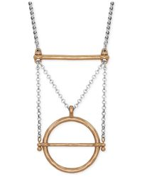 Lucky Brand | Metallic Two-tone Geo Pendant Necklace | Lyst