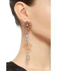Lydia Courteille | Multicolor One Of A Kind Delicate Turquoise Earrings | Lyst