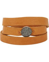 Feathered Soul - Metallic Unbreakable Disc & Leather Wrap Bracelet - Lyst