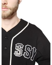 Stussy Black Cotton Jersey Baseball T-Shirt for men
