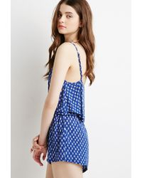 Forever 21 | Blue Abstract Arrow Flounce Romper | Lyst