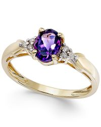 Macy's | Metallic Amethyst (7/10 Ct. T.w.) And Diamond Accent Ring In 10k Gold | Lyst