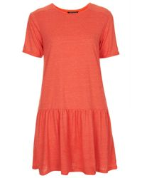 TOPSHOP | Red Drop Waist Tunic | Lyst