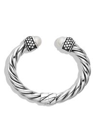 David Yurman - Metallic Cable Classics Bracelet With Pearls And Diamonds - Lyst
