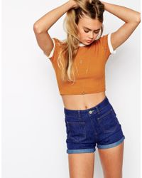 ASOS | Orange Crop Top In Jumbo Rib With Tipped Neckline | Lyst