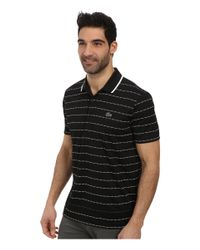Lacoste Black Sport Pique Ultra Dry Stripe Polo for men