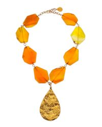 Devon Leigh - Metallic Hammered Gold Plated Teardrop & Yellow Agate Necklace - Lyst