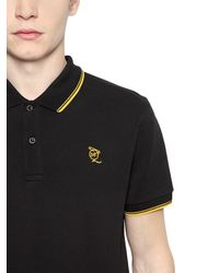 McQ | Black Logo Embroidered Cotton Piqué Polo for Men | Lyst