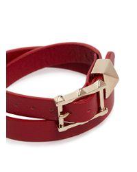 Valentino - Red Single 'rockstud' Leather Bracelet - Lyst