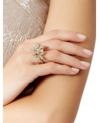 Accessorize - Metallic Beth Crystal Flower Cocktail Ring - Lyst
