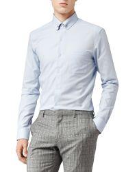 Reiss Blue Buster Collar Bar Long Sleeve Shirt for men