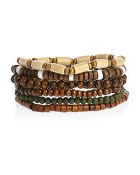 River Island - Green Brown Beaded Bracelets Pack - Lyst