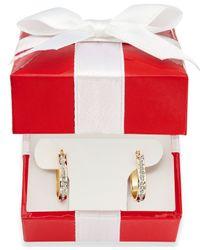 Macy's | Metallic Diamond Accent Pear-shaped Hoop Earrings In 14k Gold | Lyst
