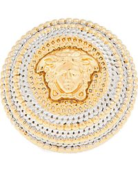 Versace | Gold and Silver Raised Circle Emblem Ring | Lyst