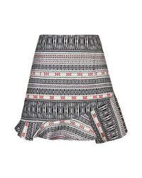 TOPSHOP Multicolor Asymmetric Hem Jacquard Skirt
