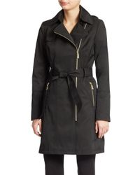 Vince Camuto | Black Belted Trench Coat | Lyst