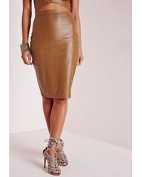 c8d3d01edc0 Lyst - Missguided Faux Leather Midi Skirt Tan in Brown