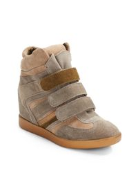 BCBGeneration Gray Anthony Suede Colorblock Wedge Sneakers