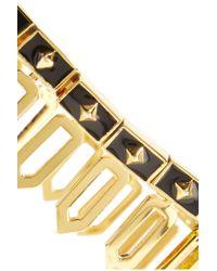 Noir Jewelry Metallic Traverse Gold-tone Enamel Bracelet
