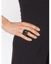 Monies - Black Chunky Rounded Triangle Ring - Lyst