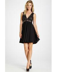 Dress the Population   Black 'juliette' Sequin Chiffon Fit & Flare Dress   Lyst