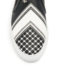 Givenchy - Black Leather Kefiah Print Sneakers for Men - Lyst