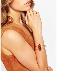 ASOS - Orange Topaz Open Wire Cuff Bracelet - Lyst