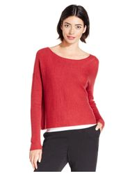 Eileen Fisher Red Bateau-neck Cropped Boxy Sweater