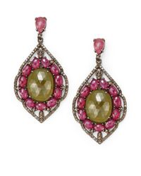 Bavna - Pink Diamond, Sapphire & Sterling Silver Earrings - Lyst