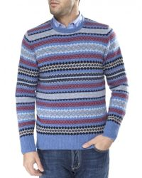 Jules B - Blue Lambswool Fair Isle Sweater for Men - Lyst
