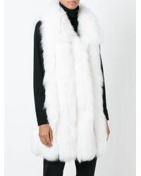 Yves Salomon White Fox Fur Vest