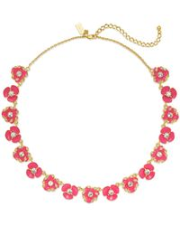 kate spade new york | Red 12k Gold-plated Geranium Crystal Bouquet Small Necklace | Lyst