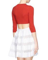 Alaïa Red Crepe Cropped Cardigan