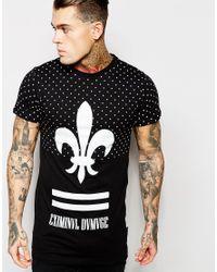 Criminal Damage Black Fleur T-shirt In Polka Dot for men