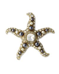 Kenneth Jay Lane | Metallic Two Toned Pearl Starfish Brooch | Lyst