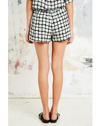 Sparkle & Fade Black Check Running Shorts in White