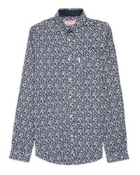 Ben Sherman Blue Checkerboard Paisley Long Sleeve Shirt for men
