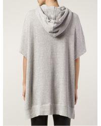 R13 Gray Short Sleeve Hoodie