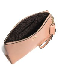 COACH - Metallic Madison Large Pouch Clutch in Leather - Lyst