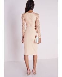 Missguided Natural Clemenca Lace Long Sleeve Cut Out Midi Dress Nude