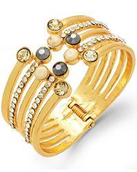 INC International Concepts | Metallic Gold-tone Crystal Multi-row Cuff Bracelet | Lyst