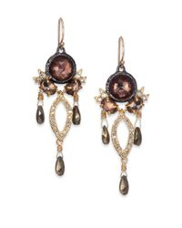 Alexis Bittar | Metallic Elements Muse D'Ore Pyrite & Crystal Two-Tone Chandelier Earrings | Lyst