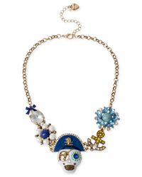 Betsey Johnson | Blue Gold-Tone Crystal Skull And Anchor Linked Frontal Necklace | Lyst