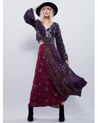 Free People - Multicolor Womens Amazing Technicolor Printed Trumpet Skirt - Lyst